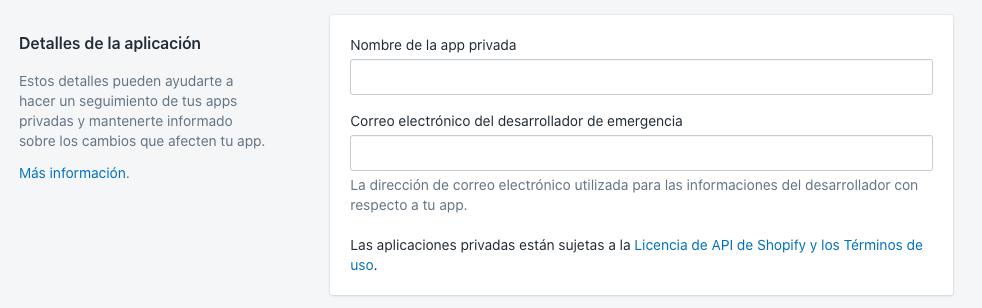 Configurar aplicación privada Shopify